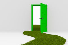 Open door and grass road Stock Images