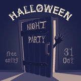 Open door on halloween night party Royalty Free Stock Images