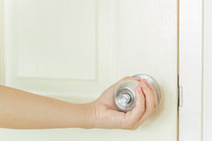 Open door handle. Concept open door handle to success Stock Photos