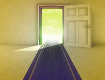 Open door with highway path Royalty Free Stock Photography