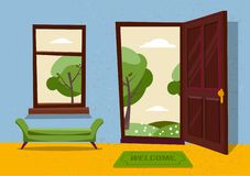 Open door into hot summer landscape fair weather view with freen park trees. Door mat and green bench in room. Flat cartoon royalty free illustration
