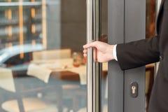 Open the door of hotel royalty free stock image