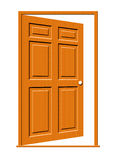 Open Door Illustration. Illustration of an open wood door with panels isolated on a white background royalty free illustration