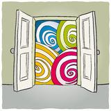 Open door. Illustration with an open door to a concept Royalty Free Stock Photography