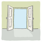 Open door. Illustration with an open door to a concept Royalty Free Stock Image