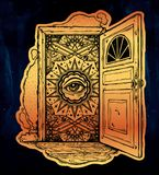 Open door into imagination or a dream. Open door into a realm of mind imagination or a dream. Ornate eye looking in. Symbol of subconsious, creative idea Royalty Free Stock Photography