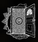 Open door into imagination or a dream. Ornate eye looking in. Symbol of subconsious, creative idea, fantasy, dreams. Surreal tattoo. Isolated vector Stock Images