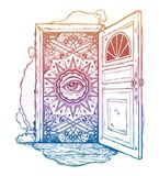 Open door into imagination or a dream. Open door into a realm of mind imagination or a dream. Ornate eye looking in. Symbol of subconsious, creative idea Royalty Free Stock Images