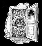 Open door into imagination or a dream. Open door into a realm of mind imagination or a dream. Ornate eye looking in. Symbol of subconsious, creative idea Stock Images