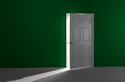 Open door with incoming light Royalty Free Stock Photography