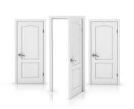 Open door . Open door isolated on white background . 3d illustration Royalty Free Stock Photos