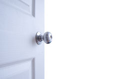 Open door isolated on white background Stock Photos