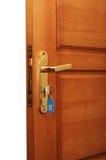 Open door with keys Stock Image