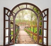 Open door ladder Stock Photos