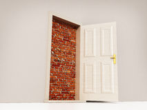 Open door leading to brick wall. 3D illustration Royalty Free Stock Photo