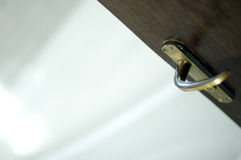 Open Door with Lever Handle. An open door with a lever handle Royalty Free Stock Images