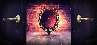 Open door, magical holiday. Open two doors behind which is visible flash of light, magic particles, rays, sorcery. magic royalty free stock photos
