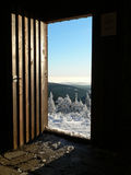 Open door into New Year at the Hruby Jesenik mountains Royalty Free Stock Image
