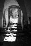 Open door in old ruin house Royalty Free Stock Photos
