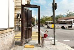 Open door, outdoors stock photography