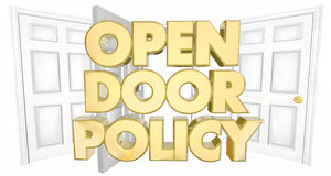 Open Door Policy Welcome Invitation Words. 3d Illustration Stock Photos