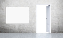 Open door and poster Royalty Free Stock Image