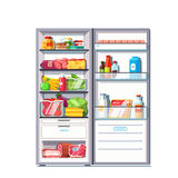 Open door refrigerator full of vegetables, fruits. Meat and dairy products. Fridge with freezer. Flat style vector illustration on white background vector illustration