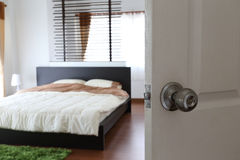 Open the door with relax in bedroom Stock Photography