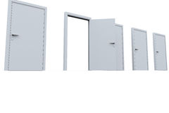 Open door in a row of closed ones Royalty Free Stock Photography