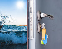 Open door with a sea view Royalty Free Stock Images