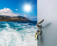 Open door with a sea view Royalty Free Stock Photography