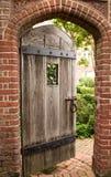 Open door. Slightly opened door revealing garden Stock Photos