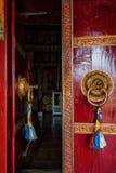 Open door of Spituk monastery. Ladakh, India Stock Photo