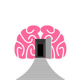 Open door and step of human brain. Entrance into subconscious. Vector illustration stock illustration