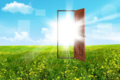 Open door in steppe Stock Image