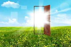 Open door in steppe Stock Image