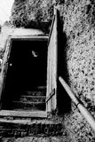 Open door and steps. Black and white low angle view of steps leading through open doorway inset in rock Royalty Free Stock Photos
