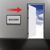 Open Door with success text Royalty Free Stock Photography