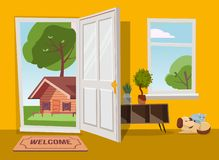 Open door into summer country landscape view with green trees. Flat cartoon illustration. Trees with round crown under blue sky. vector illustration