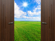 Open door sun Stock Image