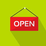 Open Door Text Sign Red Shop Label over Green. Background Flat Vector Illustration stock illustration