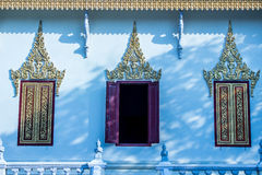 An open door. Three windows of a pagoda in cambodia Royalty Free Stock Images