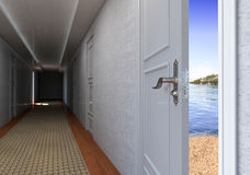 Open door to the Beach vacation concept Royalty Free Stock Images