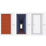 Open Door to Brickwall, Hallway and Second Door Royalty Free Stock Photo