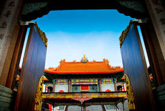 Open the door to Chinese Temple in Thailand Stock Photo