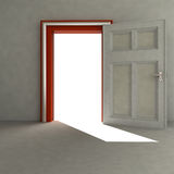 Open door to empty space with red frame Royalty Free Stock Photography