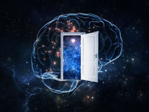 Open door to explore the secret of human brain Royalty Free Stock Images