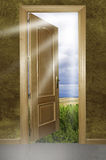 Open door to nature. This image shows an open door to nature, leaving room entering the Royalty Free Stock Photos