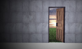 Open door to new life. Hope, success, new life and world concepts Stock Photos