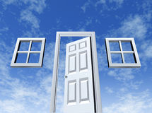 Open Door to Opportunity. With windows and entrance on a sky background as a symbol of success and new wealth strategies for a better life or a housing concept Royalty Free Stock Photo